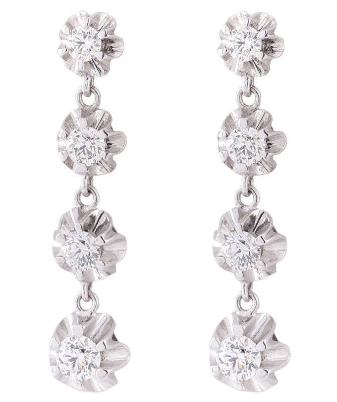 Pendientes 4 Diamantes talla Brillante montados en oro blanco 18 quilates con garra ilusión