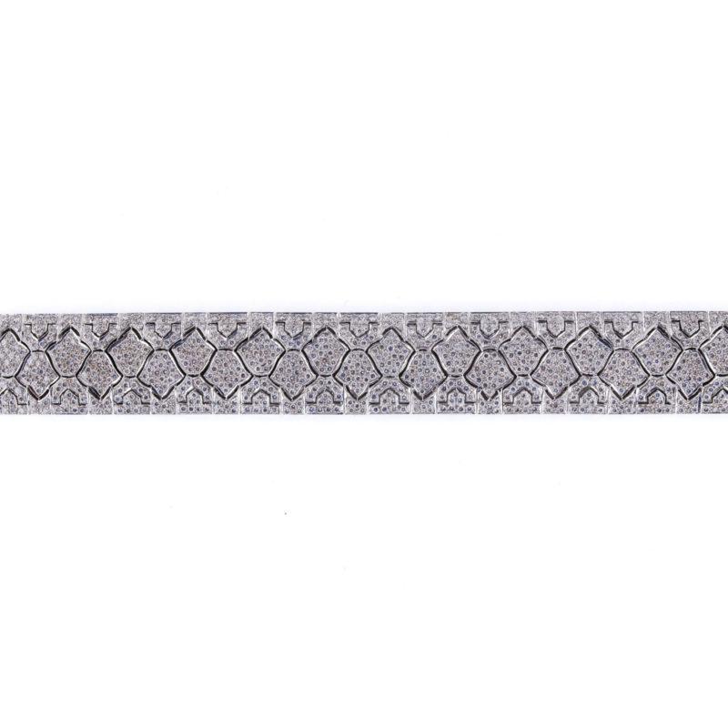 """Pulsera ancha """"Art Decó"""" en Oro blanco 18 quilates y Diamantes"""