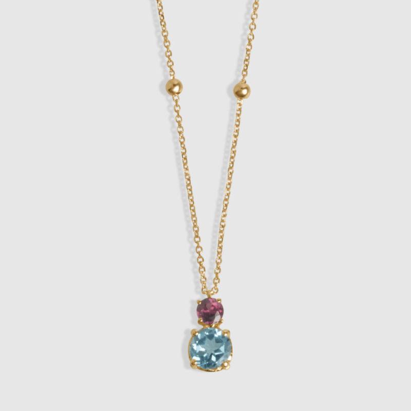 Collar oro rosa 18 quilates, Topacio suizo y Rodolita