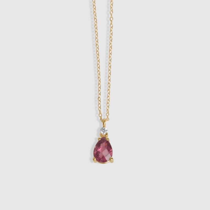 Collar oro rosa 18 quilates, Brillante y Turmalina pera