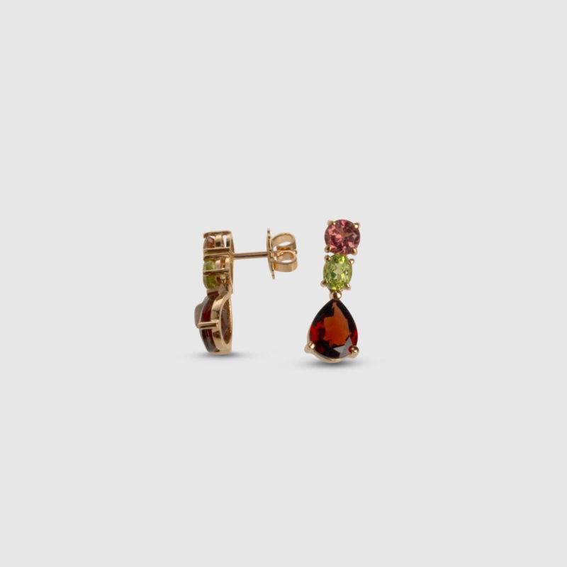 Pendientes oro rosa con Granate, Turmalina y Peridoto