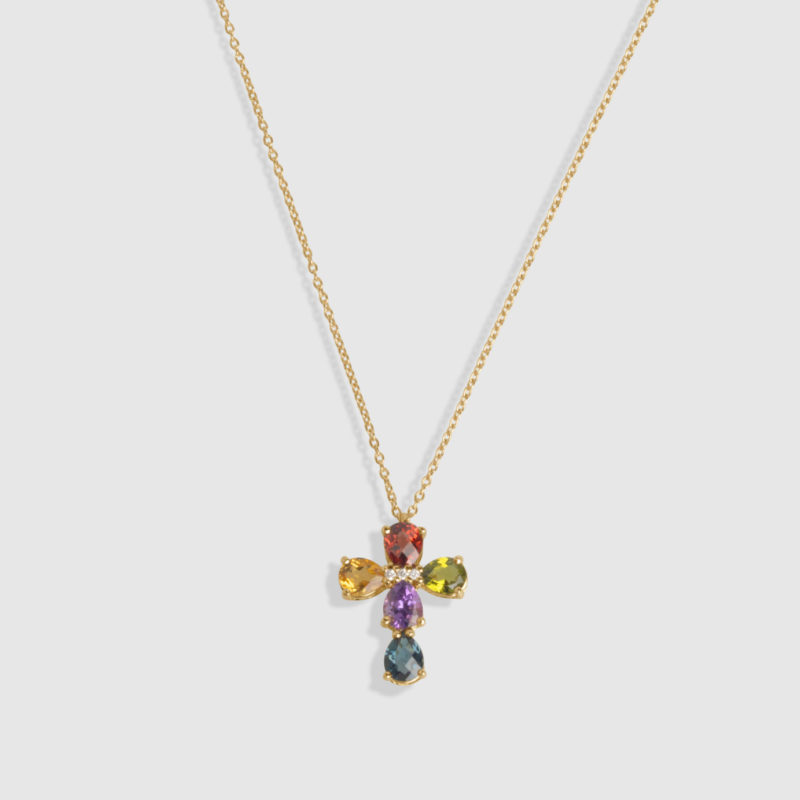 Collar oro rosa 18 quilates con 4 brillantes, Topacio London azul, Granate, Peridoto, Amatista y Citrino