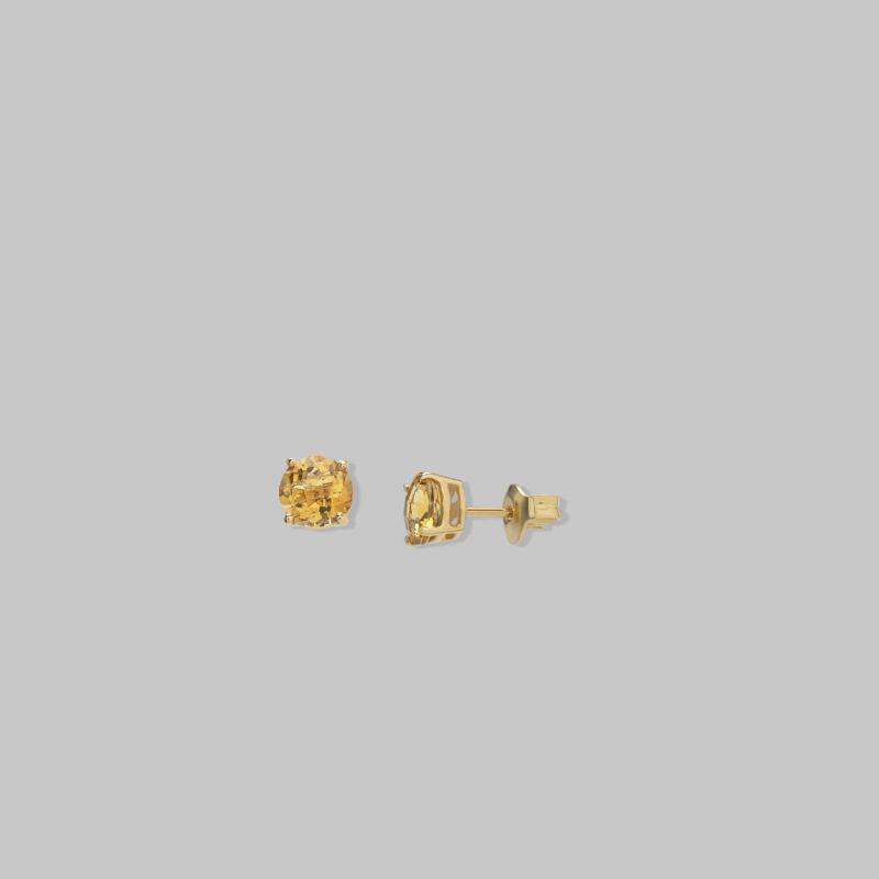 Pendientes oro amarillo 18 quilates con Citrino
