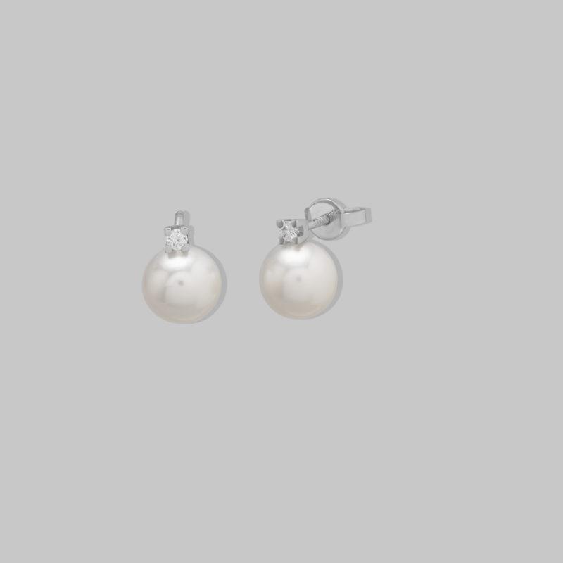 Pendientes oro blanco 18 quilates, Brillantes HSI y Perlas cultivadas
